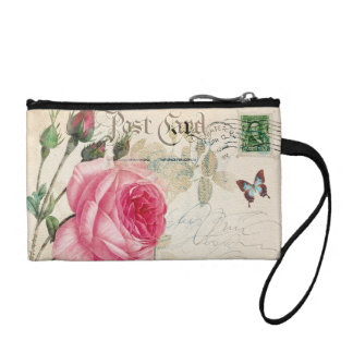Light Pink Rose Key Coin Clutch Coin Purse