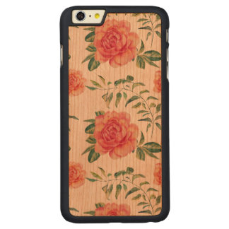 Light Pink Roses Pattern Watercolors Carved Cherry iPhone 6 Plus Case
