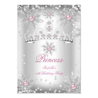 "Light Pink Silver Winter Wonderland party 5"" X 7"" Invitation Card"