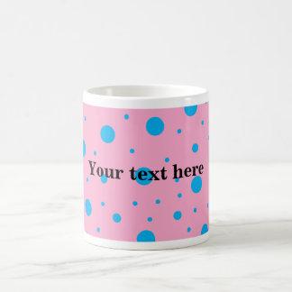 Light pink sky blue tiny and big polka dots basic white mug
