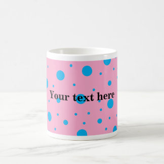 Light pink sky blue tiny and big polka dots coffee mug