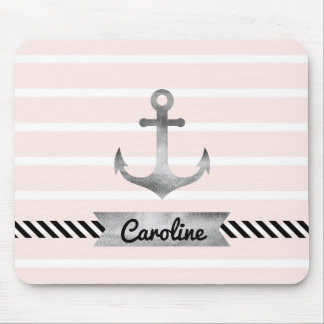 Light Pink Stripes Watercolor Anchor Personalized Mouse Pad