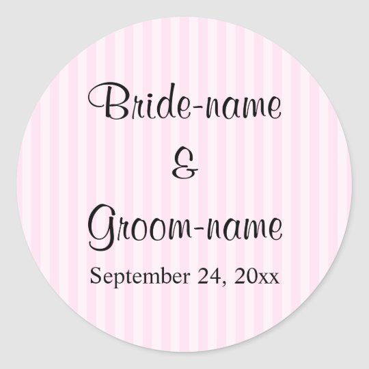 Light Pink Stripes Wedding Classic Round Sticker