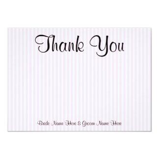 "Light Pink Stripes Wedding Thank You 4.5"" X 6.25"" Invitation Card"