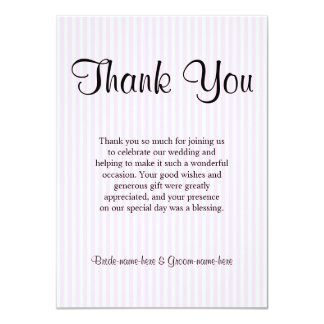 Light Pink Stripes Wedding Thank You Custom Announcement