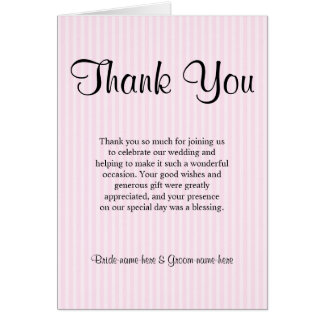 Light Pink Stripes Wedding Thank You Note Card