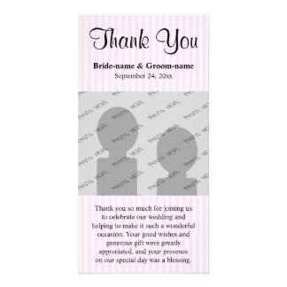 Light Pink Stripes Wedding Thank You Photo Card