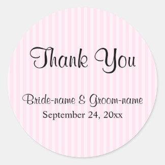 Light Pink Stripes Wedding Thank You Round Sticker