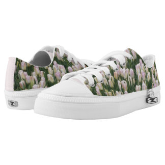 Light Pink Tulips Low Top Zipz Shoes