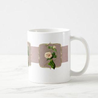 Light Pink Vintage Flowers Wide Coffee Mug