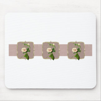 Light Pink Vintage Flowers Wide Mouse Pad