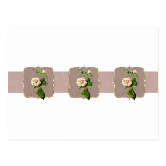 Light Pink Vintage Flowers Wide Postcard
