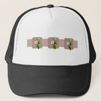 Light Pink Vintage Flowers Wide Trucker Hat