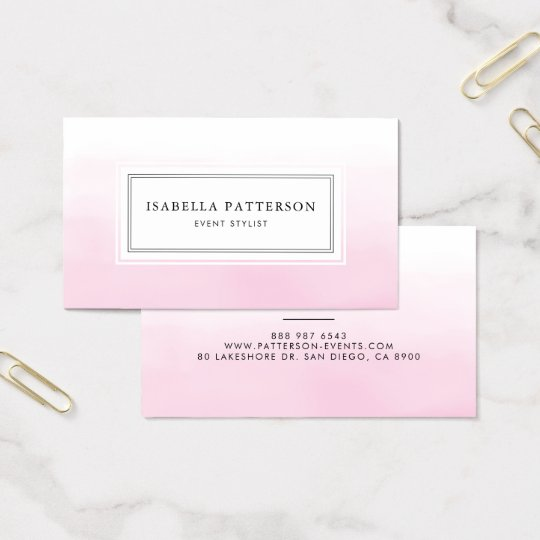Light Pink Watercolor Ombre Modern Business Card