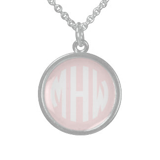 Light Pink White 3 Initials in a Circle Monogram Sterling Silver Necklaces