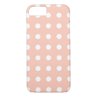 Light Pink White Chic Polka Dot iPhone 7 Case