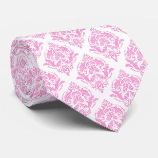 Light Pink & White Floral Damasks Tie
