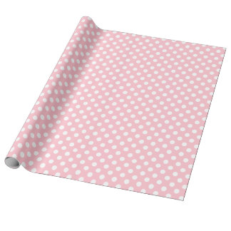 Light Pink White Large Polka Dots Wrapping Paper