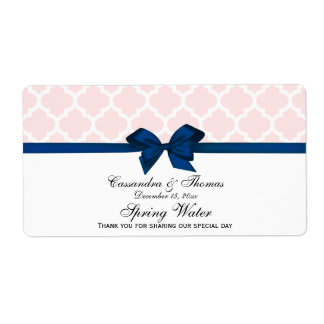 Light Pink Wht Moroccan Navy Bow Party Water Label Shipping Label