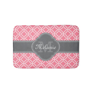 Light Pink Wht Moroccan Pattern Dark Gray Monogram Bath Mat