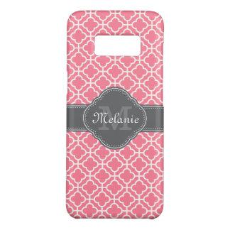 Light Pink Wht Moroccan Pattern Dark Gray Monogram Case-Mate Samsung Galaxy S8 Case
