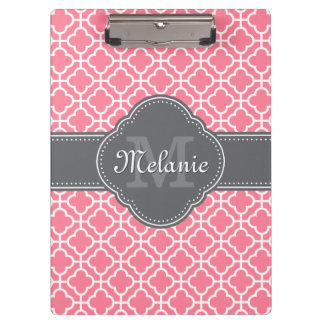 Light Pink Wht Moroccan Pattern Dark Gray Monogram Clipboard