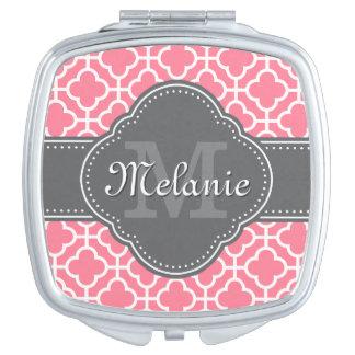 Light Pink Wht Moroccan Pattern Dark Gray Monogram Compact Mirrors