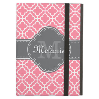 Light Pink Wht Moroccan Pattern Dark Gray Monogram Cover For iPad Air