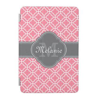 Light Pink Wht Moroccan Pattern Dark Gray Monogram iPad Mini Cover