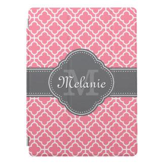 Light Pink Wht Moroccan Pattern Dark Gray Monogram iPad Pro Cover