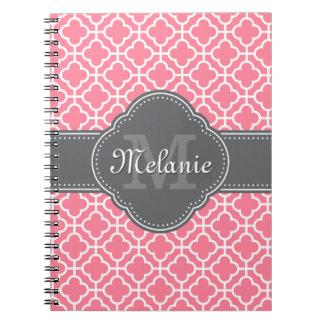 Light Pink Wht Moroccan Pattern Dark Gray Monogram Notebook