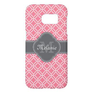Light Pink Wht Moroccan Pattern Dark Gray Monogram Samsung Galaxy S7 Case