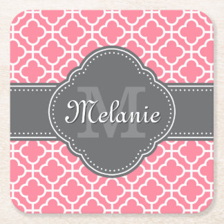 Light Pink Wht Moroccan Pattern Dark Gray Monogram Square Paper Coaster