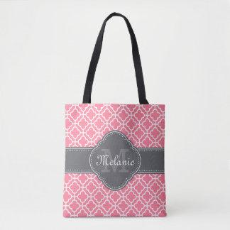 Light Pink Wht Moroccan Pattern Dark Gray Monogram Tote Bag