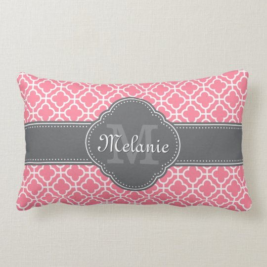 Light Pink Wht Moroccan Pattern Dark Grey Monogram Lumbar Pillow