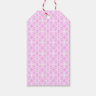Light pink with abstract white swirly flowers. gift tags