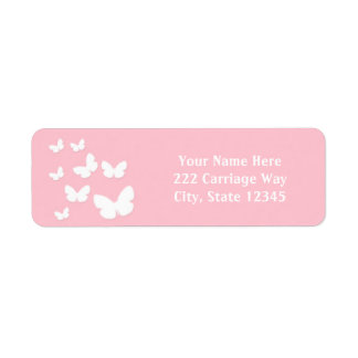 Light Pink with White Butterflies Address Labels