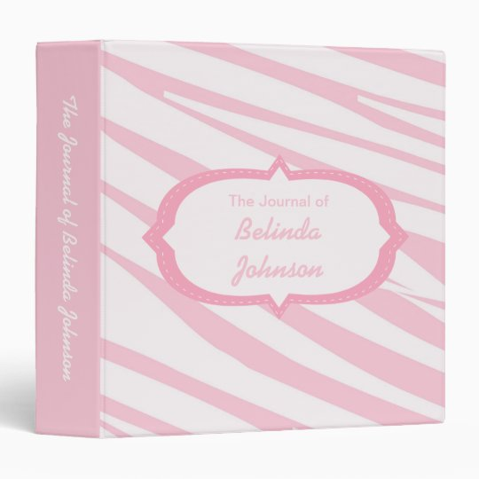 Light Pink Zebra Pattern Journal Binder