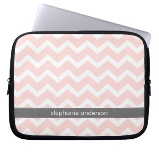 Light Pink Zig Zag Chevrons Pattern Laptop Sleeve