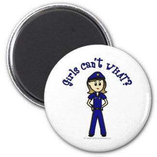 Light Police Officer 2 Inch Round Magnet