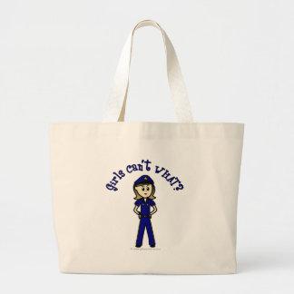 Light Police Officer Girl Jumbo Tote Bag