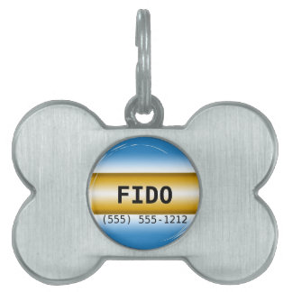 Light Powder Blue and Gold Yellow Template Pet ID Tag