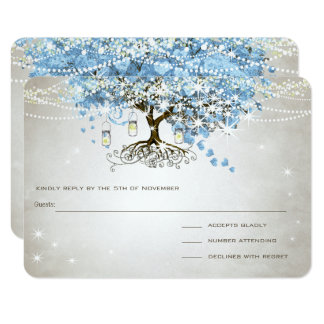 Light Powder Blue Heart Leaf Tree Wedding RSVP Card