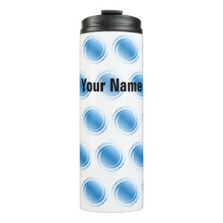 Light Powder Blue Swirling Circles with Your Name Thermal Tumbler