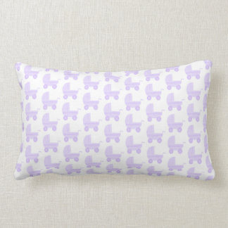 Light Purple and White Baby Stroller Pattern. Lumbar Pillow