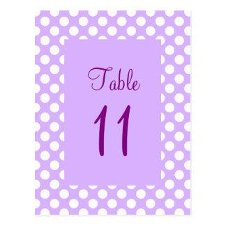 Light Purple and White Polka Dot Table Number Post Postcard