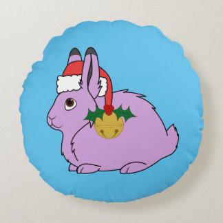 Light Purple Arctic Hare - Santa Hat & Gold Bell Round Pillow