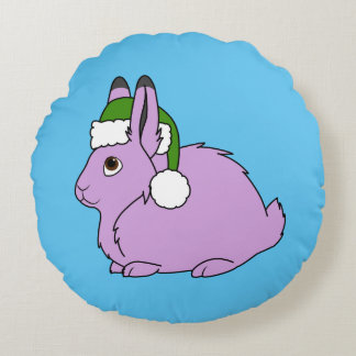 Light Purple Arctic Hare with Green Santa Hat Round Pillow