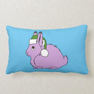 Light Purple Arctic Hare with Green Santa Hat Throw Pillow