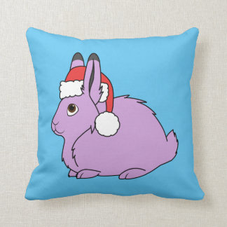 Light Purple Arctic Hare with Red Santa Hat Pillow